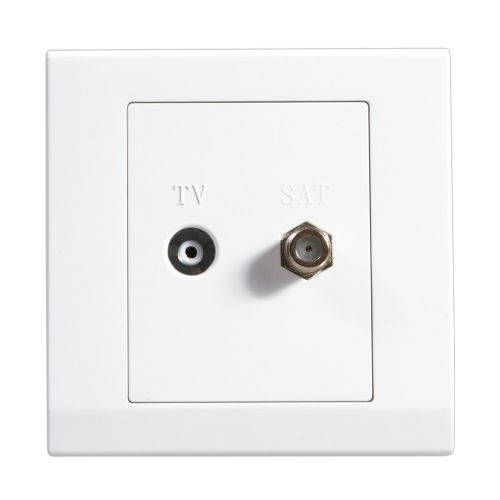 Simplicity White Screwless Double Coaxial TV + Satellite Socket 07620